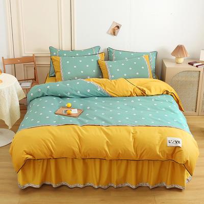2021新款13372全棉加厚床裙四件套 1.5m床裙款四件套(被套200*230cm) 沁香花语-绿