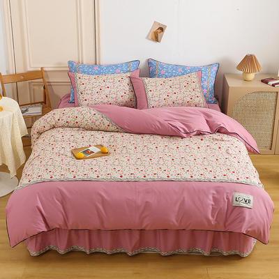 2021新款13372全棉加厚床裙四件套 1.5m床裙款四件套(被套200*230cm) 森林莓果