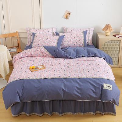 2021新款13372全棉加厚床裙四件套 1.5m床裙款四件套(被套200*230cm) 生如夏花