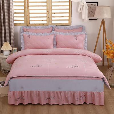 2021新款全棉普款半夹棉床裙四件套 1.5m床罩四件套(150*200床罩+160*210被套) 爱的约定