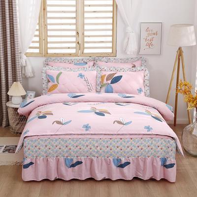 2021新款全棉普款半夹棉床裙四件套 1.5m床罩四件套(150*200床罩+160*210被套) 彩叶粉
