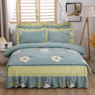 2021新款全棉普款半夹棉床裙四件套 1.5m床罩四件套(150*200床罩+160*210被套) 花香依绿