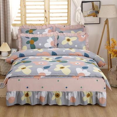 2021新款全棉普款半夹棉床裙四件套 1.5m床罩四件套(150*200床罩+160*210被套) 卢浮花园灰