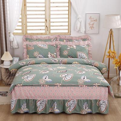 2021新款全棉普款半夹棉床裙四件套 1.5m床罩四件套(150*200床罩+160*210被套) 美式风情
