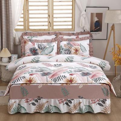 2021新款全棉普款半夹棉床裙四件套 1.5m床罩四件套(150*200床罩+160*210被套) 梦幻