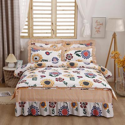2021新款全棉普款半夹棉床裙四件套 1.5m床罩四件套(150*200床罩+160*210被套) 太阳花