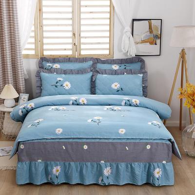 2021新款全棉普款半夹棉床裙四件套 1.5m床罩四件套(150*200床罩+160*210被套) 小雏菊