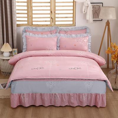 2021新款全棉普款单层床裙四件套 1.5m床罩四件套(150*200床罩+160*210被套) 爱的约定