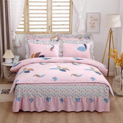 2021新款全棉普款单层床裙四件套 1.5m床罩四件套(150*200床罩+160*210被套) 彩叶粉