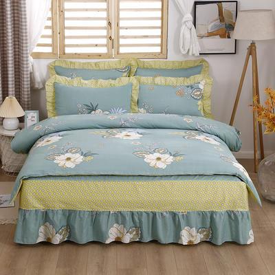 2021新款全棉普款单层床裙四件套 1.5m床罩四件套(150*200床罩+160*210被套) 花香依绿