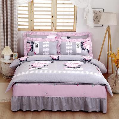 2021新款全棉普款单层床裙四件套 1.5m床罩四件套(150*200床罩+160*210被套) 开心熊猫