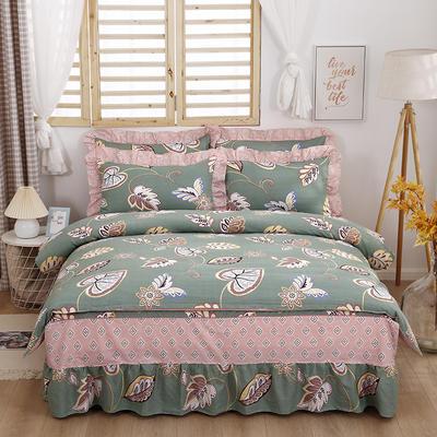 2021新款全棉普款单层床裙四件套 1.5m床罩四件套(150*200床罩+160*210被套) 美式风情