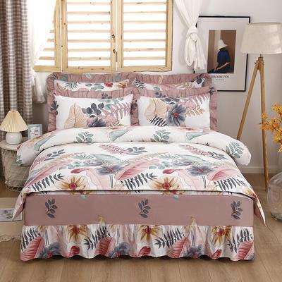 2021新款全棉普款单层床裙四件套 1.5m床罩四件套(150*200床罩+160*210被套) 梦幻
