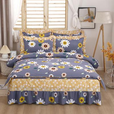 2021新款全棉普款单层床裙四件套 1.5m床罩四件套(150*200床罩+160*210被套) 沁花香