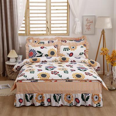 2021新款全棉普款单层床裙四件套 1.5m床罩四件套(150*200床罩+160*210被套) 太阳花
