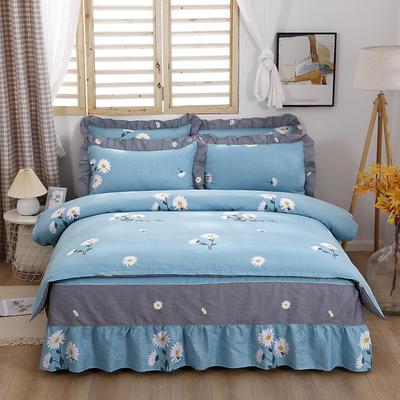 2021新款全棉普款单层床裙四件套 1.5m床罩四件套(150*200床罩+160*210被套) 小雏菊