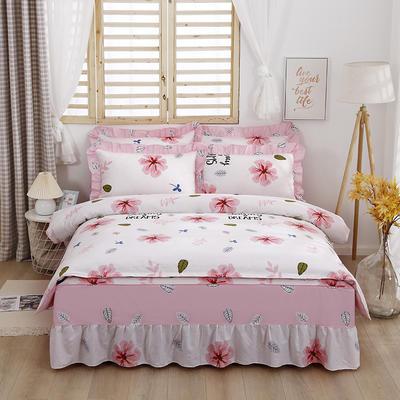 2021新款全棉普款单层床裙四件套 1.5m床罩四件套(150*200床罩+160*210被套) 月夕花晨