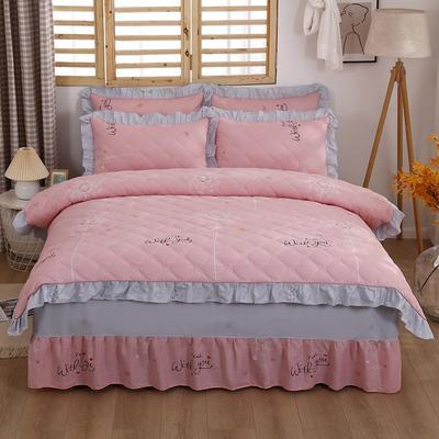 2021新款全棉普款全夹棉床裙四件套 1.5m床罩四件套(150*200床罩+200*230被套) 爱的约定
