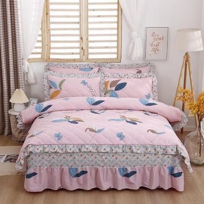 2021新款全棉普款全夹棉床裙四件套 1.5m床罩四件套(150*200床罩+200*230被套) 彩叶粉