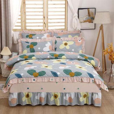 2021新款全棉普款全夹棉床裙四件套 1.5m床罩四件套(150*200床罩+200*230被套) 卢浮花园灰
