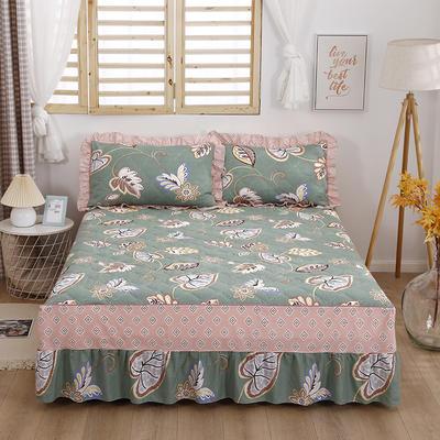 2021新款全棉普款全夹棉床裙四件套 1.5m床罩四件套(150*200床罩+200*230被套) 美式风情