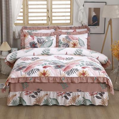 2021新款全棉普款全夹棉床裙四件套 1.5m床罩四件套(150*200床罩+200*230被套) 梦幻