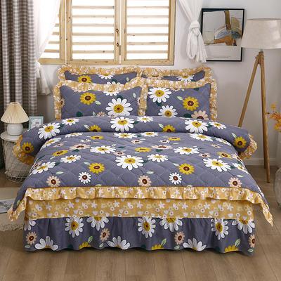 2021新款全棉普款全夹棉床裙四件套 1.5m床罩四件套(150*200床罩+200*230被套) 沁花香
