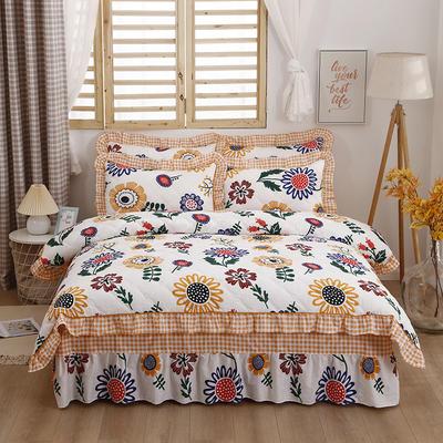 2021新款全棉普款全夹棉床裙四件套 1.5m床罩四件套(150*200床罩+200*230被套) 太阳花