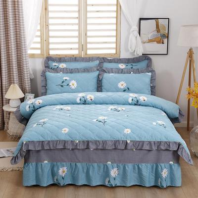 2021新款全棉普款全夹棉床裙四件套 1.5m床罩四件套(150*200床罩+200*230被套) 小雏菊