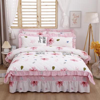 2021新款全棉普款全夹棉床裙四件套 1.5m床罩四件套(150*200床罩+200*230被套) 月夕花晨