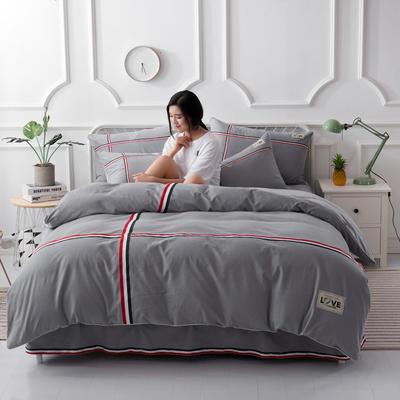 2021新款全棉磨毛床裙款四件套 1.5m(5英尺)床 浅灰
