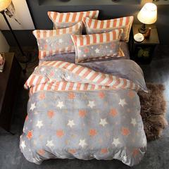 2018新款5D雕花绒四件套 1.5m(5英尺)床 快乐星空-灰