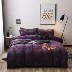 2018法莱绒加厚款抗静电绣花系列保暖四件套 1.5m(5英尺)床 蝶织舞 紫色