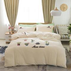 2018法莱绒加厚款抗静电绣花系列保暖四件套 2.0m(6.6英尺)床 多肉时光米白
