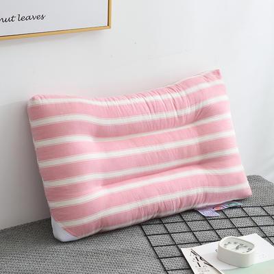 2020新款无印风粗条水洗枕(48*74) 粉