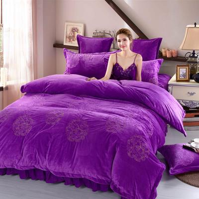 品潮国际-纯色宝宝绒花好月圆绣花床裙床罩四件套 被套200*230床罩180*200 花好月圆-紫色