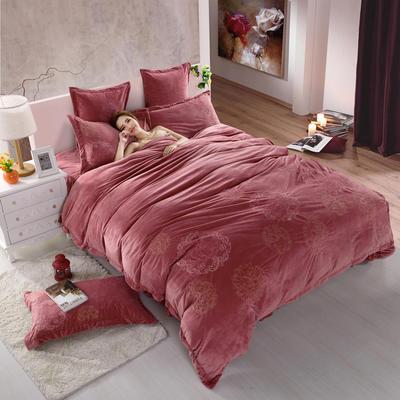 品潮国际-纯色宝宝绒花好月圆绣花床裙床罩四件套 被套200*230床罩150*200 花好月圆-豆沙