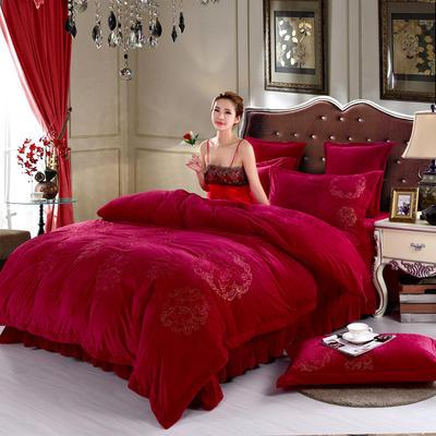 品潮国际-纯色宝宝绒花好月圆绣花床裙床罩四件套 被套200*230床罩180*200 花好月圆-酒红