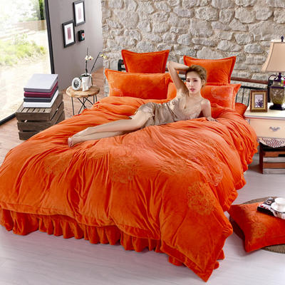 品潮国际-纯色宝宝绒花好月圆绣花床裙床罩四件套 被套200*230床罩180*200 花好月圆-橘色