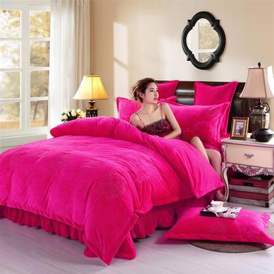 品潮国际-纯色宝宝绒花好月圆绣花床裙床罩四件套 被套200*230床罩150*200 花好月圆-玫红