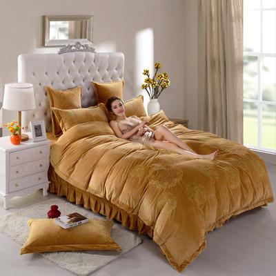 品潮国际-纯色宝宝绒花好月圆绣花床裙床罩四件套 被套200*230床罩150*200 花好月圆-炫金