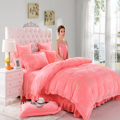 品潮国际-纯色宝宝绒花好月圆绣花床裙床罩四件套 被套200*230床罩180*200 花好月圆-玉色