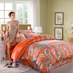 品潮国际 E磨毛印花水晶绒四件套 1.2m(4英尺)床 热情洋溢