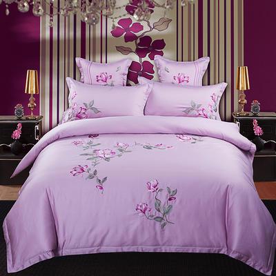 品潮国际-新品60长绒棉床裙绣花四件套 被套200*230床裙180*200` 紫云阁