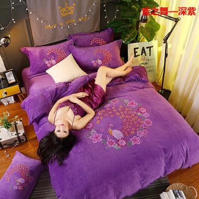 冬款保暖双面水晶绒大阪数码印花雀之舞款四件套 标准(1.5m-1.8m床)四件套 雀之舞—深紫