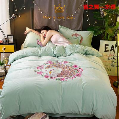 冬款保暖双面水晶绒大阪数码印花雀之舞款四件套 标准(1.5m-1.8m床)四件套 雀之舞—水绿