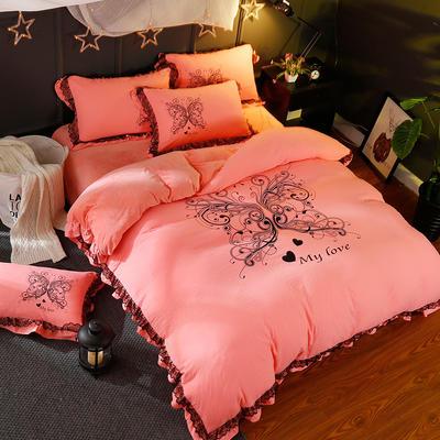 品潮国际水洗棉数码印花韩版保暖水晶绒梦之蝶蕾丝款四件套 标准(1.5m-1.8m床)四件套 梦之蝶—玉色