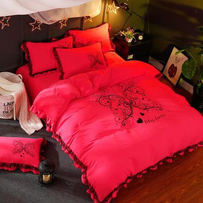 品潮国际水洗棉数码印花韩版保暖水晶绒梦之蝶蕾丝款四件套 标准(1.5m-1.8m床)四件套 梦之蝶—砖红