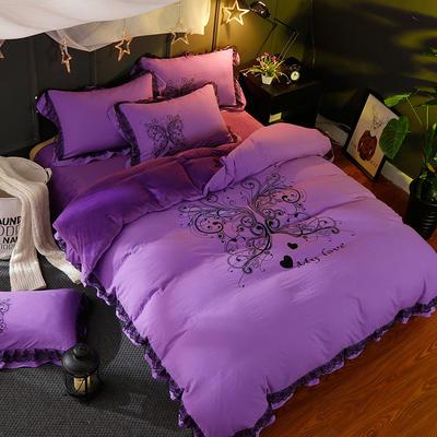 品潮国际水洗棉数码印花韩版保暖水晶绒梦之蝶蕾丝款四件套 标准(1.5m-1.8m床)四件套 梦之蝶—紫色