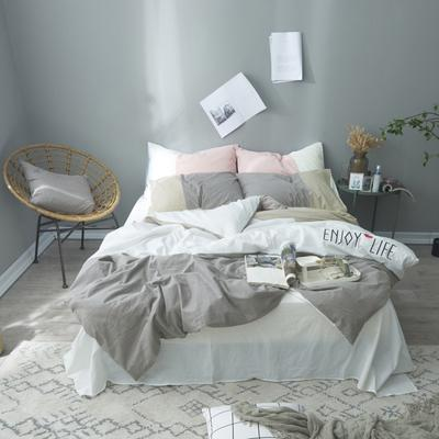 2019新款-春秋款四件套(享受生活) 1.2m(4英尺)床 享受生活-灰白
